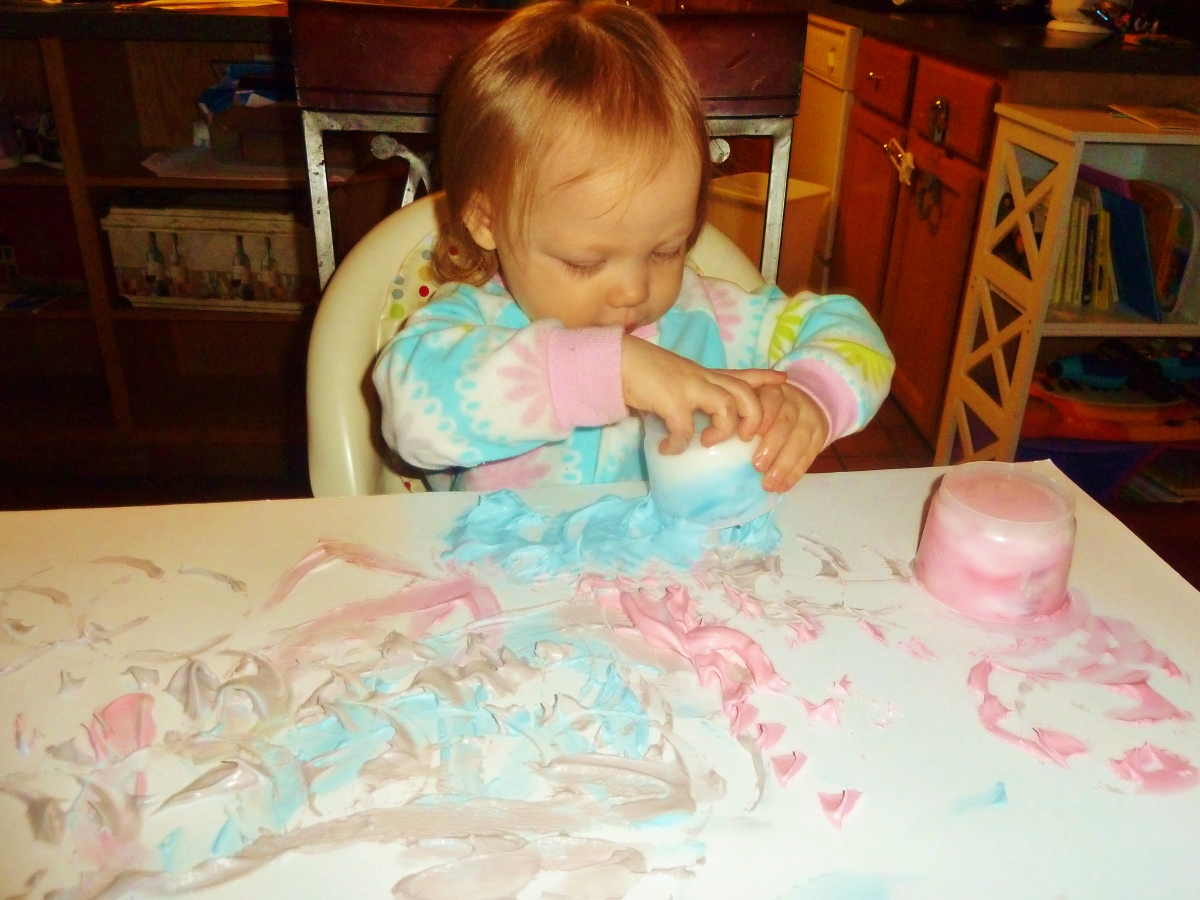 Cool whip finger painting & more messy play