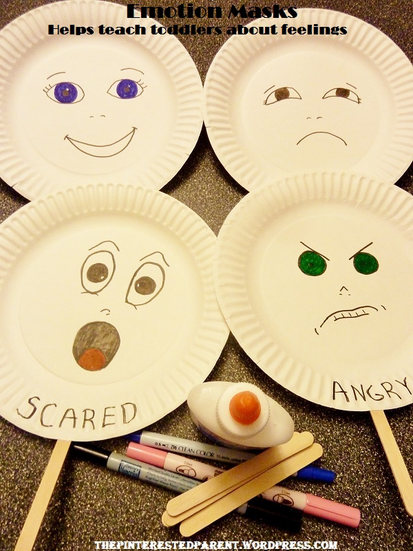 Paper plate emotion masks & Teaching Toddlers Emotions u2013 The Pinterested Parent