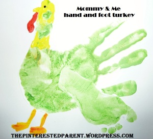hand & foot print turkey craft for kids - Thankgiving