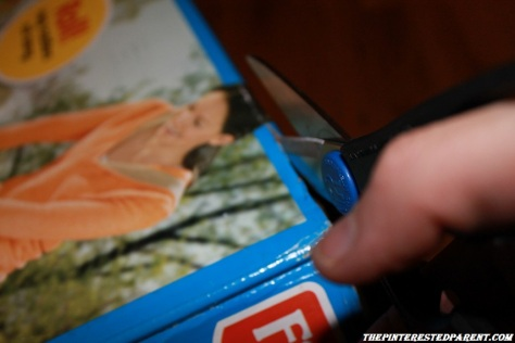 Cut the front fold down flap off the box to leave an opening at the top front of the box.