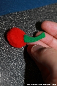To make a cherry, I just used a red pom pom & added a green felt piece for the stem.