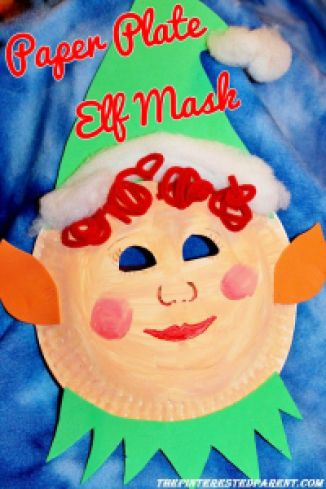 Paper plate Elf Mask for kids - Christmas craft