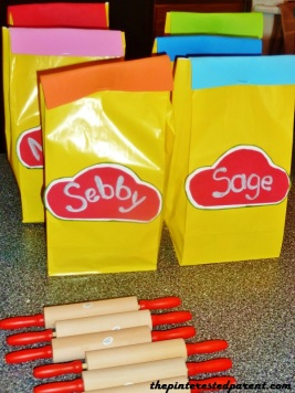 Goodie bags for the kids...filled with Play-Doh of course.